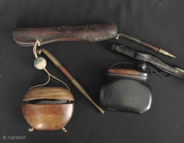 Antique Japanese Tobacco Box and Pipe: Two old Japanese tobacco pipes with sheath and box sets. The branch shaped pipe holder has been repaired and the inner lip in the blonde wood  ...