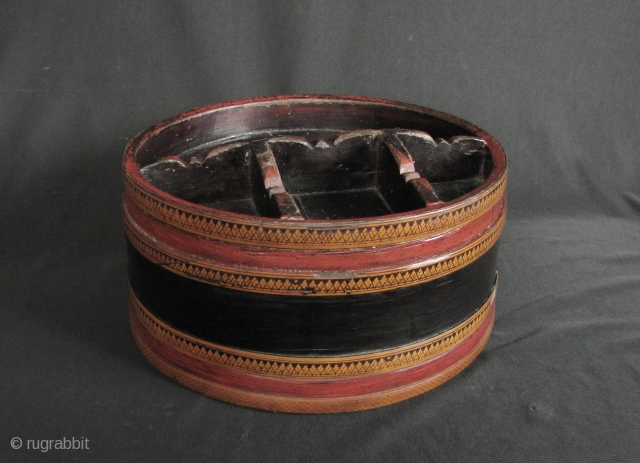 """Khmer Lacquer: Nice old Cambodian """"siri"""" box. This piece predates the Khmer Rouge regime and circa 60 or 70 years old. In good condition, there is no significant damage other expected signs  ..."""