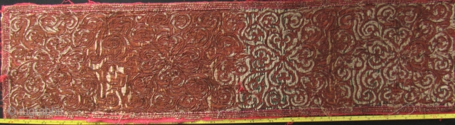 China: Old embroidered jacket panel from the Miao/Dong ethnic group Southwest China, with abstract floral pattern. Avery lovely piece- the pattern seems to shimmer as if floating on a pond of water.  ...
