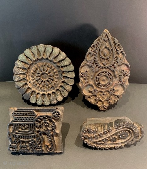 Collection of four vintage/antique cloth printing blocks from Tamil Nadu, all in excellent condition, acquired in India 30 years ago. Large one: H: 26.3/10.4in x W: 16.4 cm/6.4in, elephant: H 12.2/4.8in x  ...