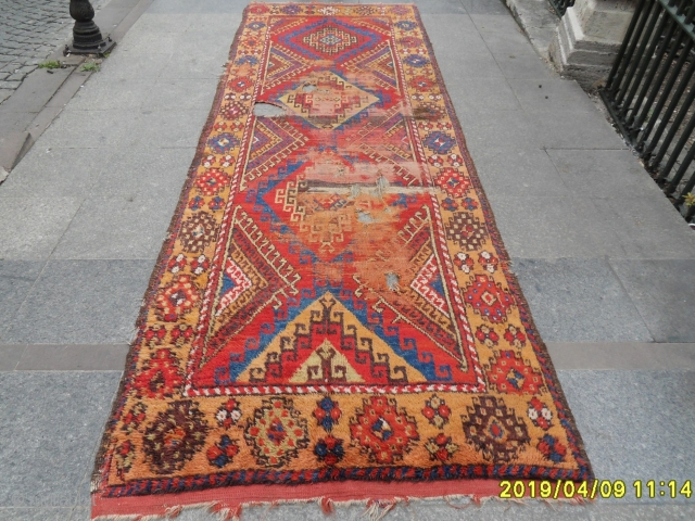 Antique Anatolian Konya Carpet size: 390x131 cm.