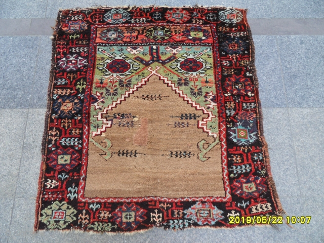 Antique Anatolian Konya Karaman Carpet size: 112x100 cm.