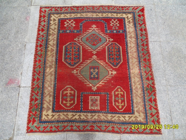 Antique fahrola prayer kazak size: 115x102 cm.