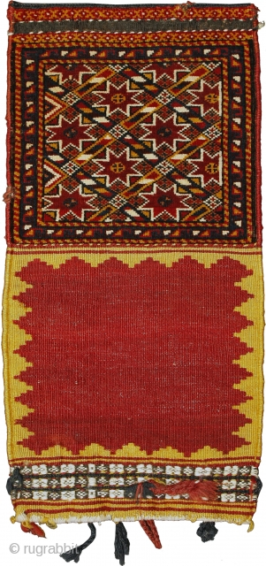 Pile khorjin, Qashqa'i Confederacy, Southern Persia, Circa 1900, 65 x 32 cm (25.5 x 12.5 in.)   Knot count:16 H x 14 V = 224 kpsi. Colours:rust red, coral pink, maroon, orangy yellow, ivory  ...