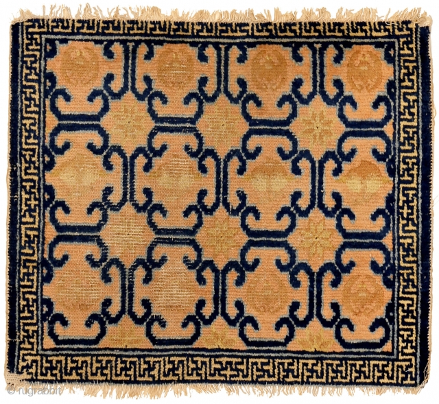 """http://www.rugrabbit.com/content/hunting-and-gathering-china-tibet-and-east-turkestan       Part of our online exhibition, """"Hunting and Gathering: China, Tibet, and East Turkestan""""    Ningxia Seating mat with longevity pattern Qing Dynasty, Kangxi period (1662-1722) 70 x 60 cm (27.5  ..."""
