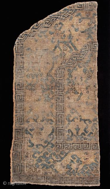 "http://www.rugrabbit.com/content/hunting-and-gathering-china-tibet-and-east-turkestan       Part of our online exhibition, ""Hunting and Gathering: China, Tibet, and East Turkestan""    Silk throne cover fragment Kashgar East Turkestan Circa 1700 81 x 43 cm (32 x 17 cm)   Knot  ..."