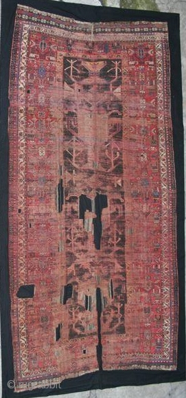 Southwest Persian Tribal Carpet, Probably Luri, huge, worn, conserved, rare
