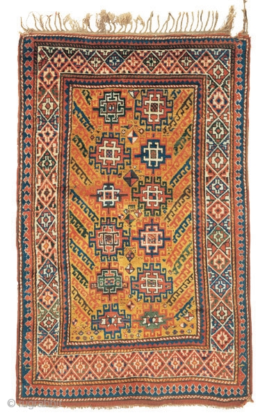 """Yellow ground Kazak rug Southwest Caucasus circa 1880 193 x 122 cm (6'4"""" x 4')  Alg 1052 symmetrically knotted wool pile on a wool foundation Although many Caucasian rugs possess distinguishing features which make it belong to  ..."""