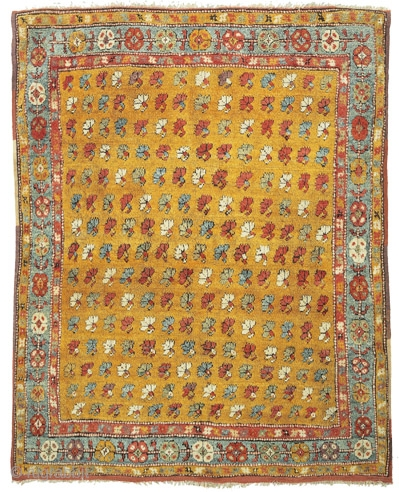 """Yatak with stylised carnations Çal area, Menderes Valley Southwest Anatolia circa 1830 191 x 160 cm (6'3"""" x 5'3"""")  Alg 1244 symmetrically knotted wool pile on cotton warps and wool wefts.  From the Turkish word for 'bed',  ..."""