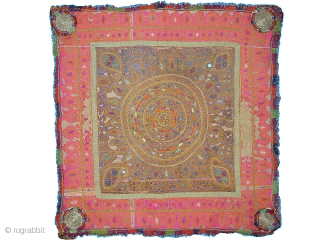 A beautiful silk embroidered Katawaz Hanging from Ghazni region of Afghanistan. It has fine chain-stitched silk embroidery, metal work and tiny mirrors. A lovely example with nice colours and design. Lined with  ...