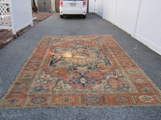 "antique persian heriz serapi(SOLD SOLD SOLD) measuring 8' 3"" x 11' 6"" no pets no smoke no dry rot in  poor condition with lots of old repair also cuts tear as  ..."