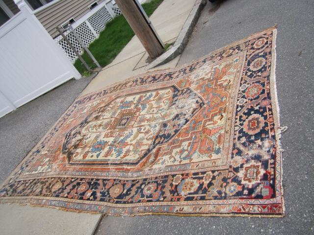 """antique heriz serapi rug 8' 8"""" x 12' 6"""" in poor condition restorable as shown nice design and rare colors no dry rot no pets 1375.00 plus shipping SOLDDDDDDDDDDDDDDDDDDDDDDDDDD"""