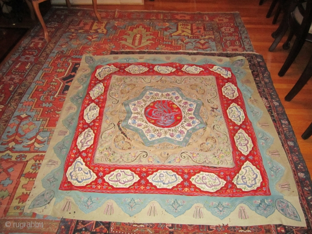 antique persian Rasht Embroidery great colors but damaged as shown has rips and holes moth bite still looks great cheap money 5' x 5'