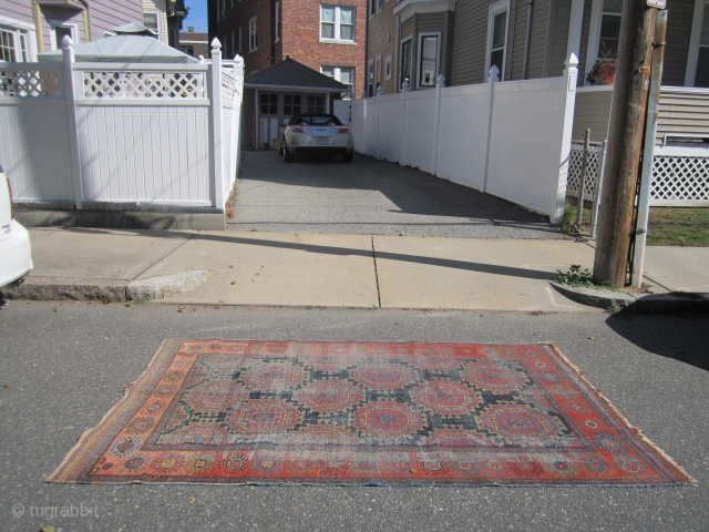 """worn oushak rug no holes no pets or smoke need washing 5' 9"""" x 8' 9"""" great colors and design. SOLDDDDDDDDDDDDDDDDDDDDDDDDDDDDDD"""