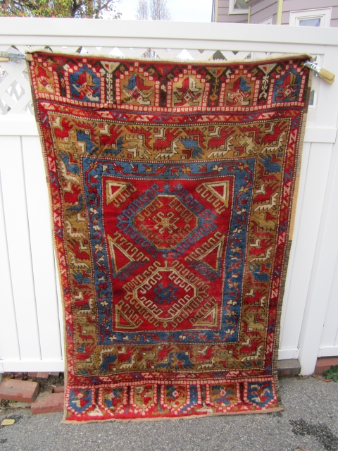 "antique konya rug great drawing great colors very good pile nice and clean collector rug 48"" x 74"" ready to go. SOLDDDDDDDDDDDDDDDDDDDDDDD"