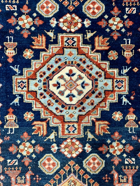 Nice antique Karaja rug with birds and people ca 1900 177 x 90 cm cleaned and ends stopped good condition