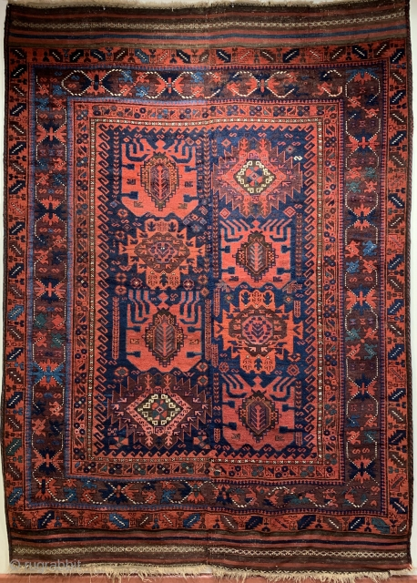 Superb antique Baluch carpet 3 rd qtr 19 c. Made in two halves a truly tribal piece 