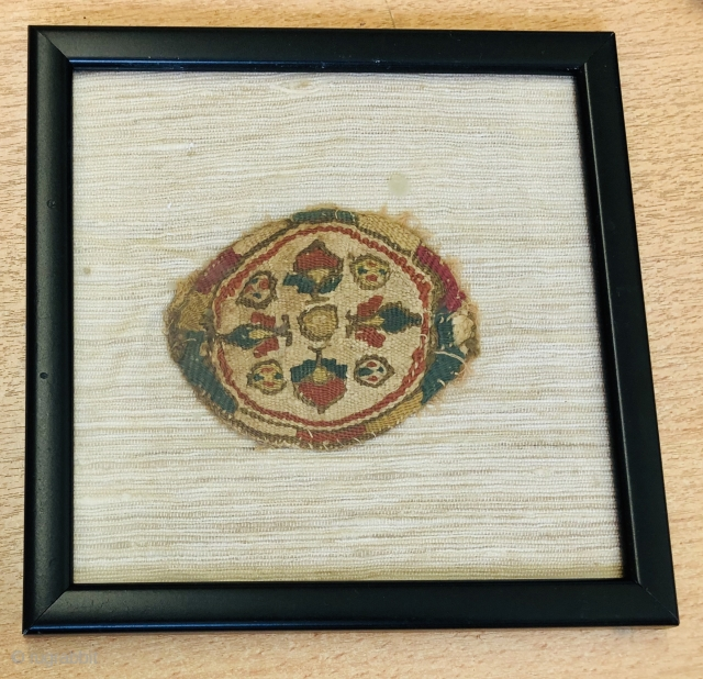 Coptic roundel ca 7 th century good colour and condition  Framed and glazed size is 9 x 7 cm frame 17 x 17 cm