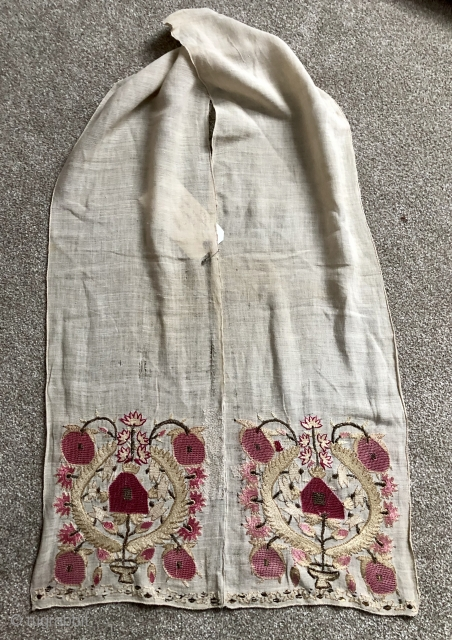 Antique Turkish woman's sash ca 1870 complete piece 170 x 24 cm illustrated in Ottoman embroidery by Roderick Taylor p 35 One side has darn to the side white ground otherwise very good  ...