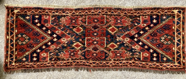 Antique Beshir torba ca 1880 size 108 x 38 cm All wool and natural dyes brown is undyed natural wool.  Original selvedges and kelim finish top and bottom very good pile few spots  ...
