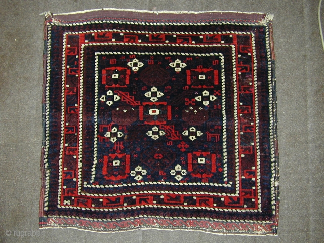 """Nice antique mina Khani baluch bag last qtr 19C size 29"""" x 28"""". All wool and natural dyes with silk highlights. Original kelim finishes and selvedges. Great wool with a lovely saturated red.  ..."""