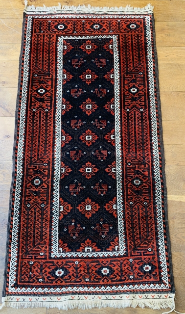 Nice antique Baluch rug with birds fresh in 