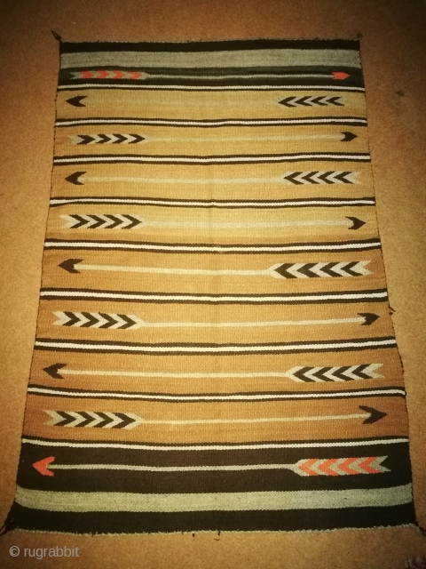 Antique Navajo rug. Condition is excellent. Duable coulers . Size is 3/4 feet