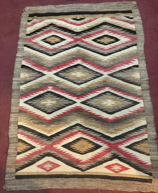 Antique Navajo rug. Butifull coulers. Need little repairing in borders. Size 3×5 feet.