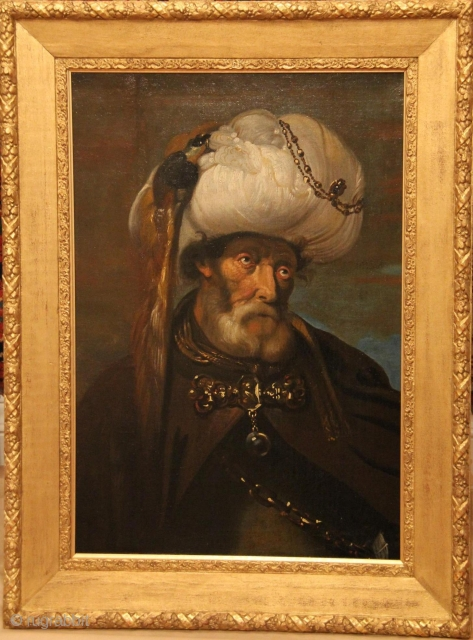 Man in Oriental Costume After Karel van Mander III (active 1624-1670), executed circa 1800 Oil on canvas, ca. 80 by 60 cm, framed. Attribution and valuation by Patrick Becks, Becks Art Consultancy