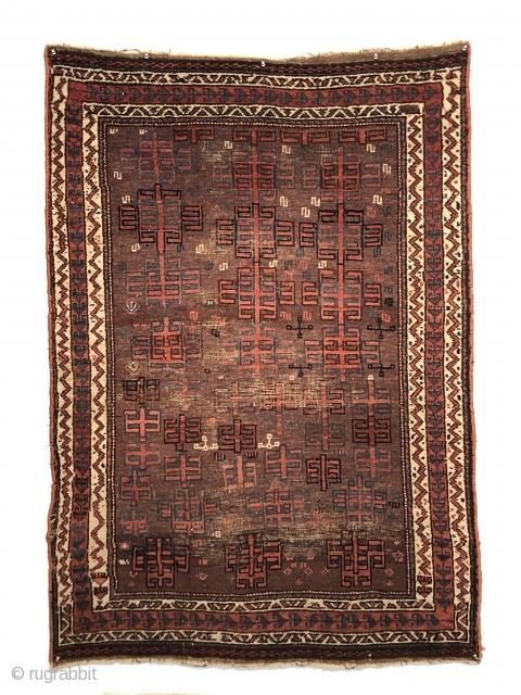 """An early Baluch rug, 3'7"""" X 5' remnants of Killim on both ends. Old overcast on the sides. Extremely glossy and deeply saturated with great dyes pashmina wool pile. Finely knotted as  ..."""