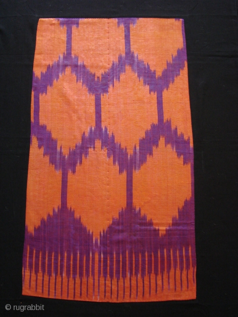 Silk Ikat fragment on black backing.