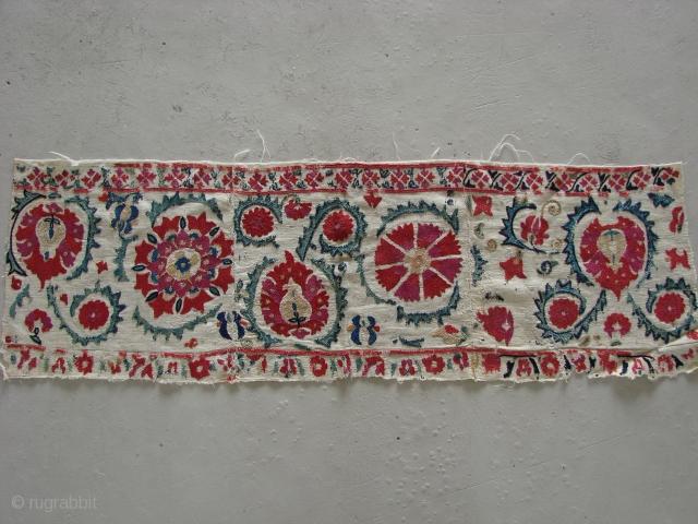 Sweet Nurata Suzani fragment. Late 19th Century. Beautiful embroidery.