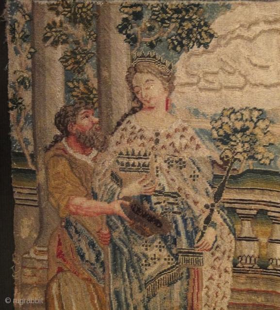 An interesting European tapestry fragment. Cm 23 x 27. Eighteenth century or earlier.