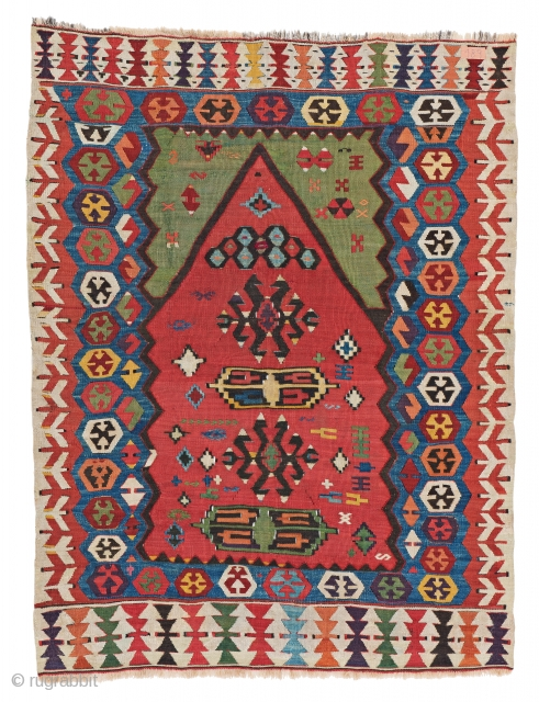 Central Anatolian Prayer Kilim, 125 x 97 cm (4 ft. 1 in. x 3 ft. 2 in.), Turkey, late 19th century, Starting bid € 200, Auction March 9th at 4pm, https://www.liveauctioneers.com/item/69398230_central-anatolian-prayer-kilim