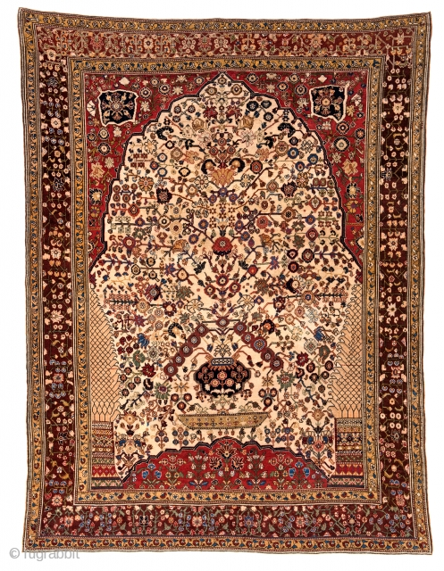 Lot 158, QASHQAI MILLEFLEUR 208 x 157 cm (6ft. 10in. x 5ft. 2in.) Persia, second half 19th century, Auction on April 22nd, https://new.liveauctioneers.com/item/52104314_qashqai-millefleur-208-x-157-cm-6ft-10in-x-5ft