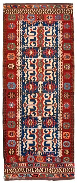 Lot 216, HOTAMIS KILIM 442 x 182 cm (14ft. 6in. x 6ft.) Turkey, mid-19th century, Auction on April 22nd, https://new.liveauctioneers.com/item/52104372_hotamis-kilim-442-x-182-cm-14ft-6in-x-6ft-turkey