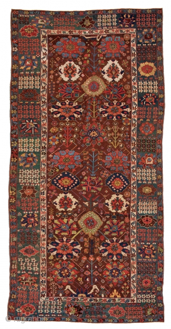 "Lot 230, SAUJBULAG 394 x 193 cm (12ft. 11in. x 6ft. 4in.) Persia, 18th century Published: ""Antique Rugs of Kurdistan"" - James D. Burns, 2002, Nr. 42, Auction on April 22nd, https://new.liveauctioneers.com/item/52104386_saujbulag-394-x-193-cm-12ft-11in-x-6ft-4in"