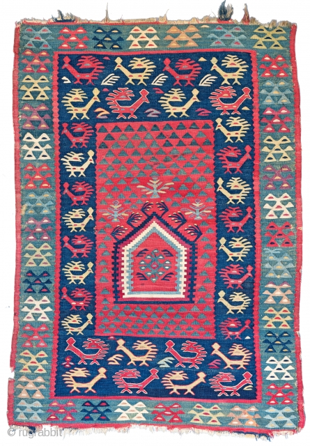Lot 30, SHARKOY PRAYER KILIM 144 x 103 cm (4ft. 9in. x 3ft. 5in.) Eastern Balkan, second half 19th century, Starting bid € 2.000, Auction on April 22nd, https://new.liveauctioneers.com/item/52104193_sharkoy-prayer-kilim-144-x-103-cm-4ft-9in-x-3ft