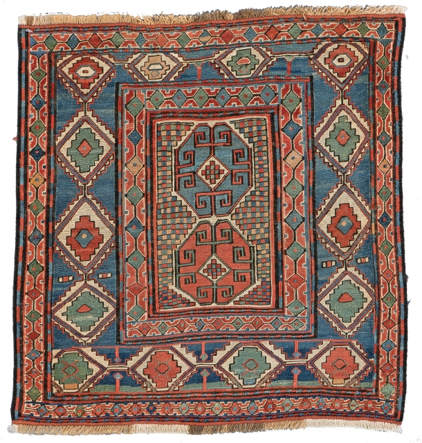 Lot 145, SHAHSAVAN SUMAKH BAG FACE 54 x 52 cm (1ft. 9in. x 1ft. 8in.) Azerbaijan, mid-19th century, Auction April 22nd, 4pm, https://new.liveauctioneers.com/item/52104301_shahsavan-sumakh-bag-face-54-x-52-cm-1ft-9in-x-1ft