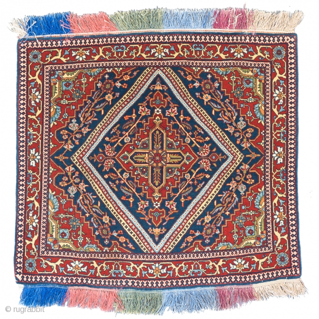 Lot 72, KASHAN MOHTASHEM 75 x 69 cm (2ft. 6in. x 2ft. 3in.) Persia, late 19th century Condition: excellent Warp: silk, weft: cotton, pile: wool with silk highlights, Auction April 22nd, 4pm,  ...