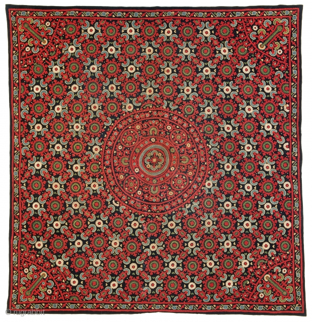 Armenian Embroidery, 200 x 189 cm (6 ft. 7 in. x 6 ft. 2 in.), Armenia, 19th century, Condition: excellent, Provenance: Siawosch Azadi, Starting bid € 800, Auction May 18th at 4pm,  ...