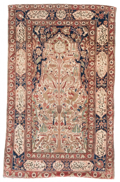 Lot 44, Ferahan, 221 x 138cm (7ft. 3in. x 4ft. 6in.), Persia late 19th century,  Condition: good, brown corroded, both ends incomplete, few small holes, backed with fabric, Starting price: Euro 1800,  ...