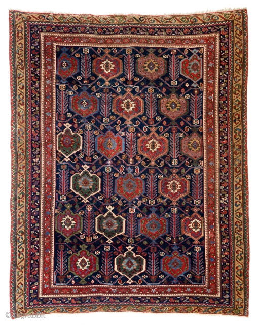 """Lot 26, Afshar, published """"Antike Orientteppiche aus Österreichischem Besitz"""" TKF 1986 plate 95, 4ft. 5in. x 3ft. 5in., Persia 19th century, condition: good, minor border missing at top and bottom, replaced selvedges,  ..."""