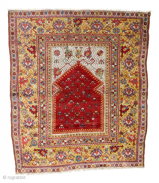 "Lot 114, Melas prayer rug, published in Schürmann, ""Teppiche aus dem Orient"" 1976 page 83, 5ft. 4in. x 4ft. 7in., Turkey first half 19th century, condition: good, losses to both ends, replaced  ..."