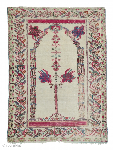 """Lot 156, Ghiordes prayer rug, published in Schürmann """"Teppiche aus dem Orient"""" 1976 page 93, 6ft. 3in. x 4ft. 6in., Turkey dated by Schürmann 1820, condition: good, minor losses to upper end,  ..."""