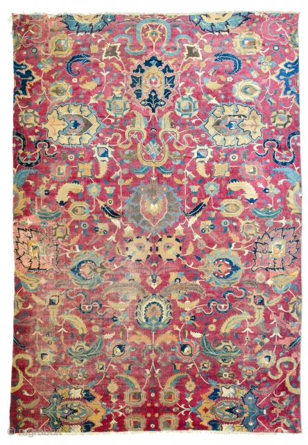 Lot 133, Isphahan fragment, 11ft. 10in. x 8ft. 2in. Persia early 17th century, Condition: fragment in one piece, few areas of low pile, few spots of old repair, cotton warp, cotton weft,  ...