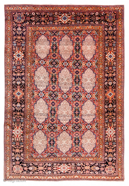 Lot 16, Kashan Mohtashem, Persia circa 1870, 10ft. 6in. x 7ft. 3in., 320 x 221 cm, Condition: excellent, Wool pile, cotton warp, cotton weft. This carpet, unlike the previous lot, is more typical  ...