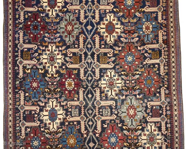 "Antique Kuba Afshan Sajayaghy rug in a dark blue ground, ~1890-1900, 128x165cm (4'2""x5'4"")   http://www.azerbaijanrugs.com/antique-rugs/antique-kuba-afshan-sajayaghy-rug-KUAF01.htm"