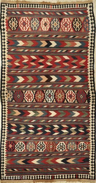 "Antique Shahsavan Moghan kilim, c1900, 146x271cm (4'9""x8'10""). Condition: very good."
