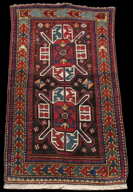 Antique Kazak Tisbaghaly rug, late 19th century, Tovuz District, 123 x 218 cm, 3'11 x 7'2.